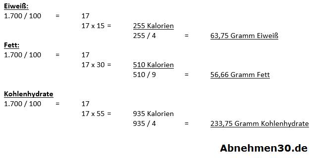 Beispielrechnung für Nährstoffverteilung