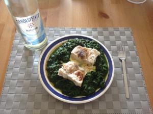 Fisch an Kartoffelbrei mit Spinat